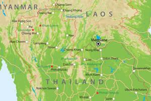 De kaart van Noord-Thailand