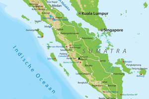 De kaart van Sumatra