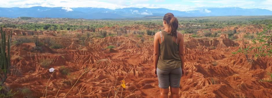 Medewerkster Van Verre in de Tatacoa woestijn