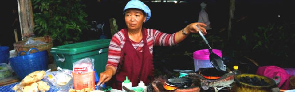 Geen toerist te bekennen op de lokale markt in Thailand