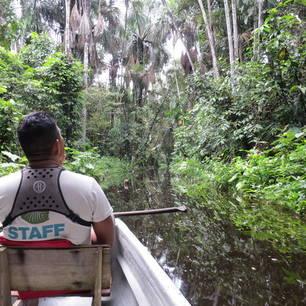 Op pad met de gids in een kano, opzoek naar dieren in de Amazone