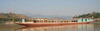 Varen op de Mekongrivier in Laos