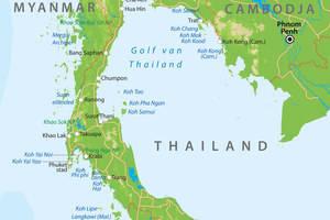 De kaart van Zuid-Thailand