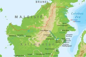 De kaart van Kalimantan
