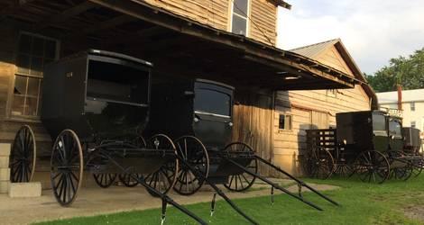 Amerika-Lancaster-Amish-Paard-Wagen