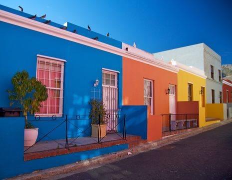 Kleurrijke huisjes in Kaapstad, Zuid-Afrika