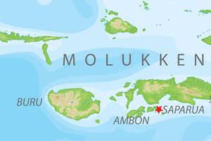 De kaart van de Molukken