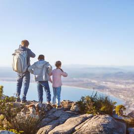 Gezin op de tafelberg in Kaapstad, Zuid-Afrika