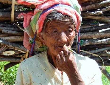 Myanmar-Inle Lake-vrouw met takken(8)