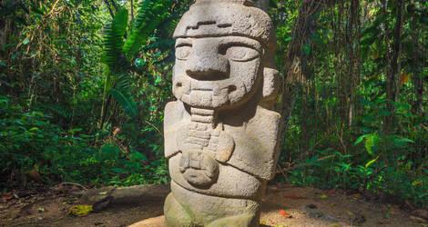Een monoliet in het park Parque Arqueológico  van San Agustin