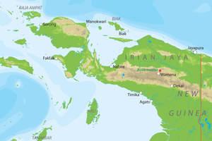De kaart van Irian Jaya