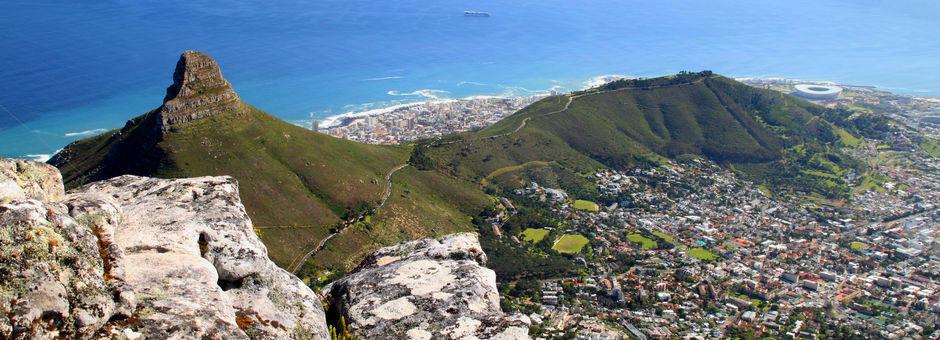 Het uitzicht vanaf de tafelberg is spectaculair, Kaapstad, Zuid-Afrika