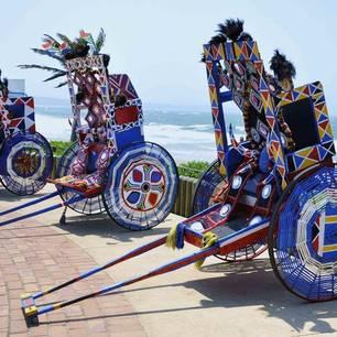 Kleurrijke riskja's in Durban, Zuid-Afrika