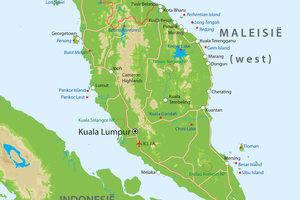 De kaart van West-Maleisie