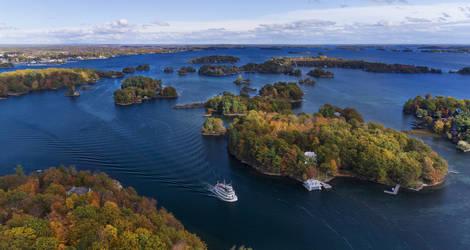 Luchtoverzicht van de Thousand Islands in Canada