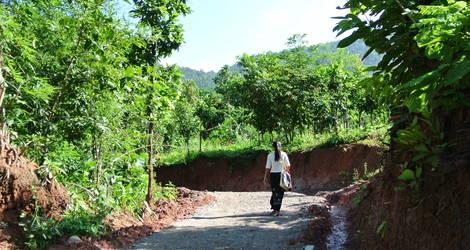 Lokale vrouw uit Kalaw wandelt terug naar huis