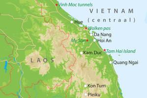 De kaart van Centraal-Vietnam