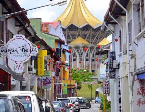 Gezellig straatje in Kuching
