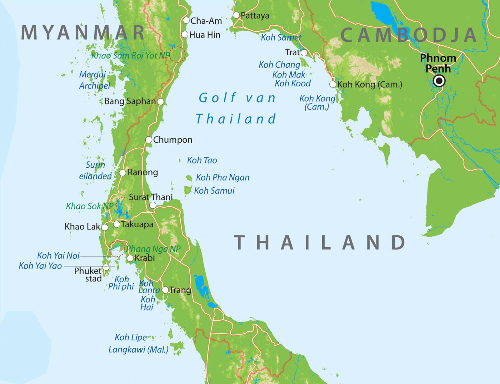 De Kaart Van Zuid Thailand Bij Van Verre Reizen