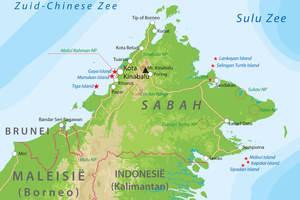 De kaart van Sabah