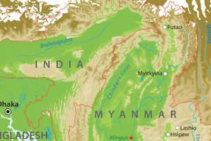 De kaart van Noord-Myanmar