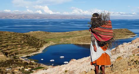 Uitzichten en lokale bevolking bij het Titicacameer - Bolivia