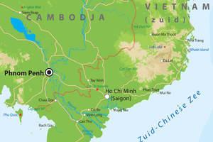 De kaart van Zuid-Vietnam