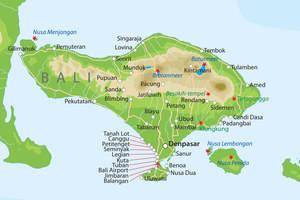 De kaart van Bali