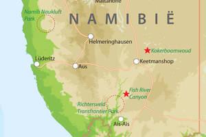 Kaart van Zuid-Namibie