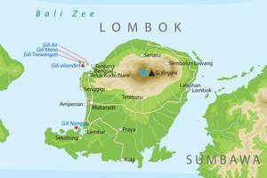 De kaart van Lombok