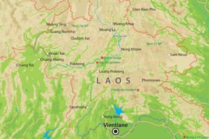 De kaart van Noord-Laos