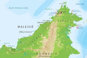 De kaart van Maleisisch Borneo