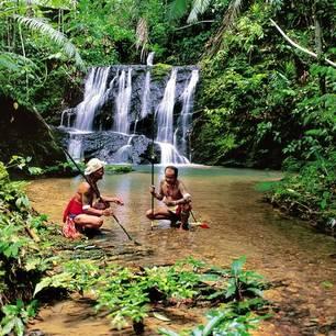 Iban at waterfall(8)