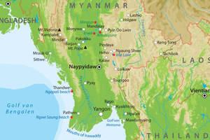 De kaart van Centraal-Myanmar