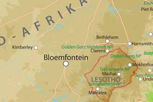 Kaart van Zuid-Afrika midden