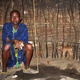 Masai in hut Tanzania
