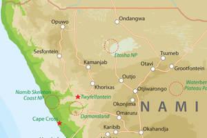 Kaart van Noord-Namibie