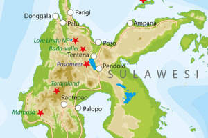 De kaart van Sulawesi
