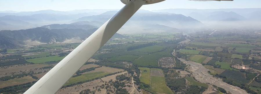 De omgeving waarover je vliegt