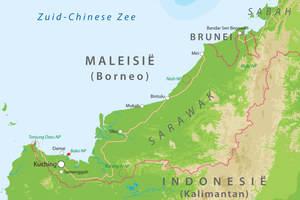 De kaart van Sarawak