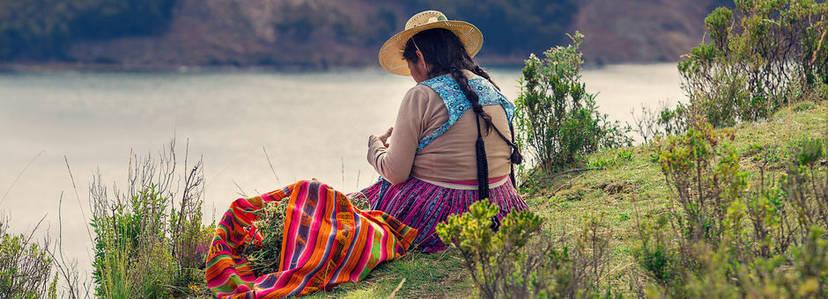 Een lokale bewoonsters van Bolivia