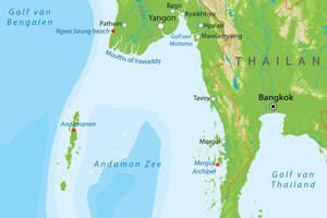 De kaart van Zuid-Myanmar