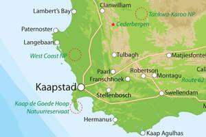 Kaart van Zuid-Afrika zuid
